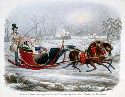 Prince Albert gives Victoria and their children a holiday sleigh ride.