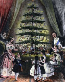 Victoria and Albert with their Christmas tree int he 1840s. Soon, every home in Britain would have a holiday tree.