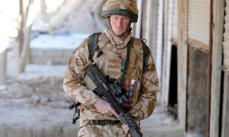 "Prince Harry on patrol during his first tour in Afghanistan in 2008. Harry's performance during the deployment earned him praise from the head of the British Army and (then) Prime Minister Gordon Brown as ""exemplary""."
