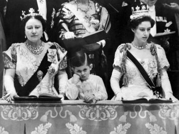 Prince Charles views the coronation with his grandmother, the Queen Mother, and his Aunt, Princess Margaret.