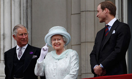The future of the monarchy: Prince Charles, the Queen and Prince William on the balcony of Buckingham Palace.