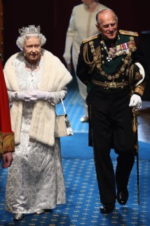 The Queen and Prince Philip arriving for the State Opening of Parliament.