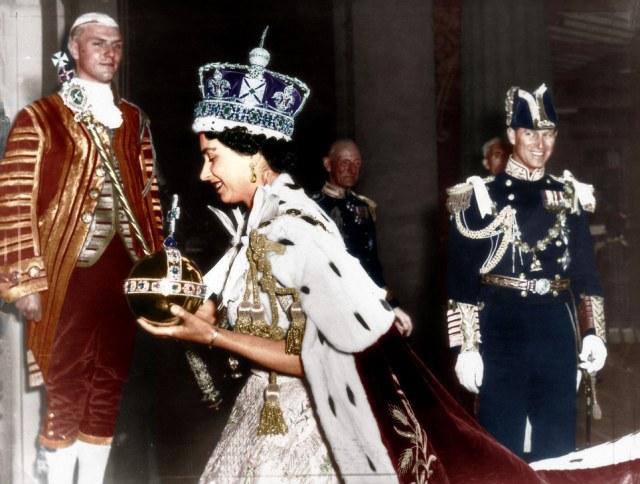 queen coronation philip smiling