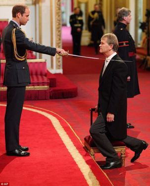 "Sir Kenneth Gibson, who has worked in education for 35 years and is currently executive head of several 'challenging' schools in the north east of England became a Knight during the ceremony. ""I told him that it was a huge privilege to be the first person to be knighted by him and he acknowledged it with a smile."""
