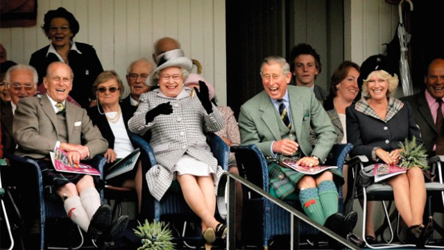 Prince Philip, the Queen, Prince Charles and Camilla share a laugh at the Braemar Games in 2006.