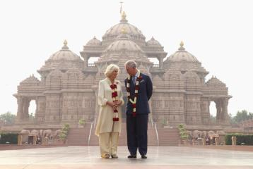 Prince Charles and his wife the Duchess of Cornwall visit Akshardham Temple on November 8th during their nine day tour of India.