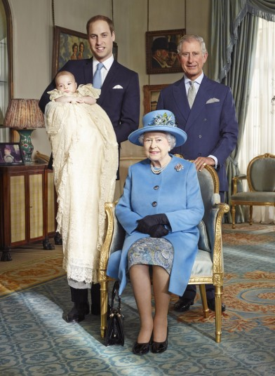 Prince Charles, Prince William and Prince George join the Queen for a commemorative photo of the current monarch and her three heirs, similar to a photo taken in 1894 of Queen Victoria and her three heirs.