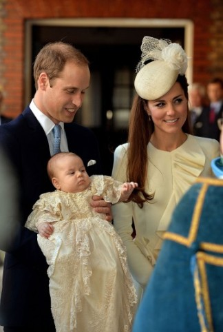 The Duke and Duchess arrive at the Chapel Royal with Prince George.