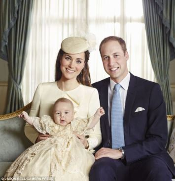 Prince George seems in good spirits in this family portrait.