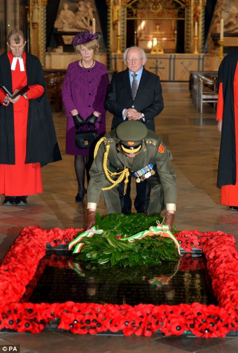 After paying their respects to Earl Mountbatten's memorial, President Higgins lays a wreath at the tomb of the Unknown Warrior in Westminster Abbey.