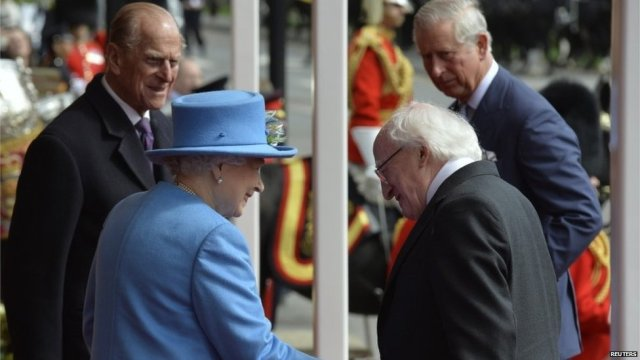 Prince Charles escorted Irish President Michael Higgins to Windsor, where he was introduced to the Queen and Prince Philip.