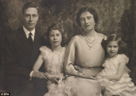 Taken after the announcement of the abdication in December 1936, this family portrait shows the new King and Queen with their daughters Elizabeth, who is now heir to the throne, and Margaret.