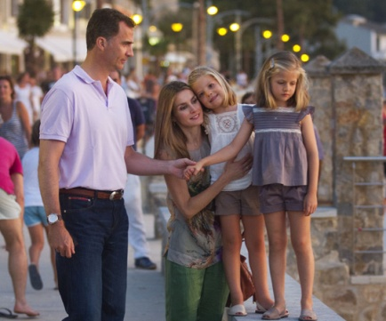 Crown Prince Felipe, his wife Princess Letizia and their two daughters, Sofia and Leonor, remain popular among Spaniards. Spain's constitution will need to be changed to allow his daughter, Princess Leonor, to succeed.
